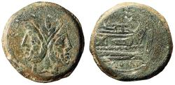 "Ancient Coins - Roman Republic AE As ""Janus & Prow of Ship"" Caecilius Metellus About VF"