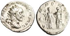 """Ancient Coins - Trajan Decius Silver AR Ant. """"PANNONIAE Two Pannoniae"""" Rome RIC 21b VF"""