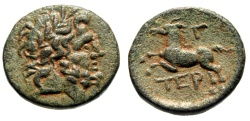 "Ancient Coins - Pisidia, Termessos Major AE19 ""Zeus & Horse Galloping, Gamma"" Good VF Patina"