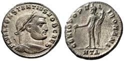 "Ancient Coins - Constantius I Chlorus Silvered Follis 27mm ""Genius"" Heraclea 296-297 AD EF"
