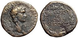 "Ancient Coins - Claudius I AE Sestertius ""EX SC B CIVES SERVATOS Oak Wreath"" RIC 96 Good Fine"