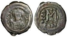 "Ancient Coins - Maurice Tiberius AE Follis ""Facing Portrait & M"" Constantinople Year 2 583/84 AD"