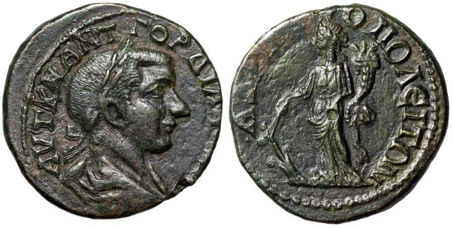 "Ancient Coins - Gordian III AE26 of Hadrianopolis, Thrace ""Tyche, Rudder & Cornucopia"" About EF"
