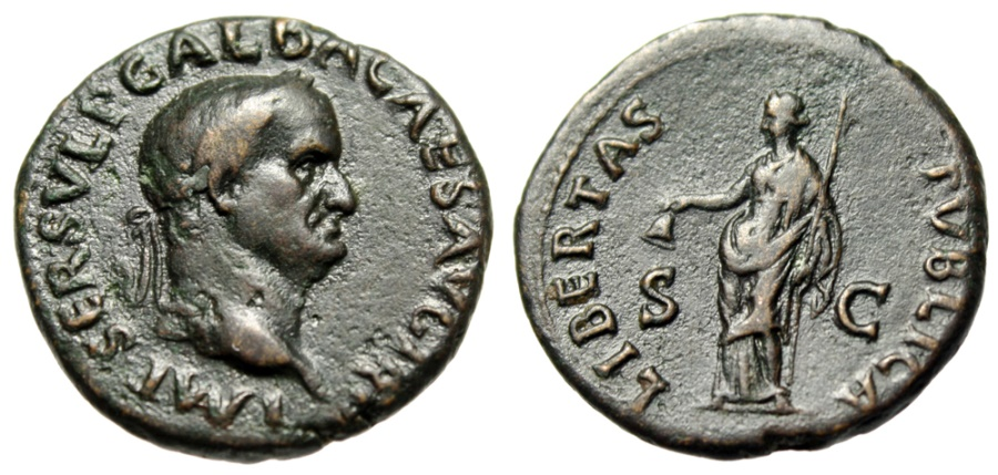 "Ancient Coins - Galba AE As ""Libertas, Pileus Cap of Free Slaves"" Rome 68 AD RIC 328 VF Scarce"