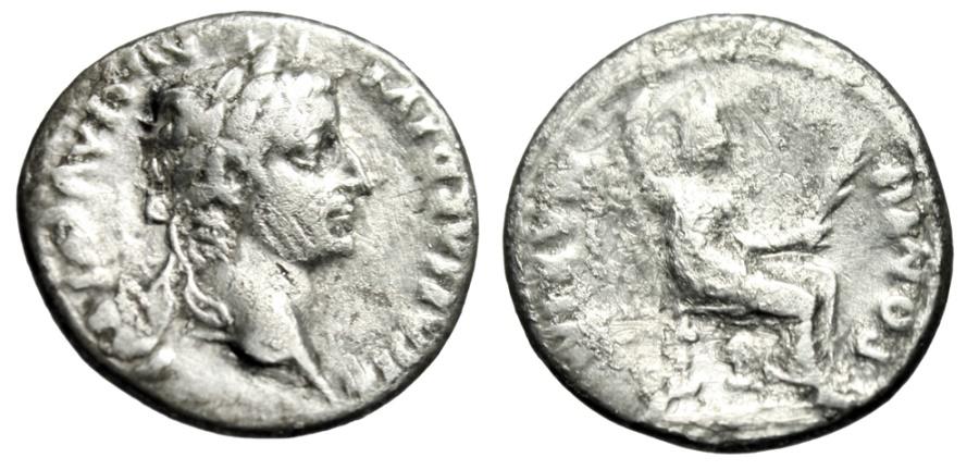 "Ancient Coins - Tiberius ""Tribute Penny"" Silver Denarius ""PONTIF MAXIM Livia Enthroned"" RIC 26"