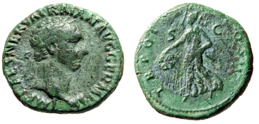 """Ancient Coins - Trajan AE As """"Victory With Shield, SPQR"""" Rome 98-99 AD RIC 395 Green Patina"""