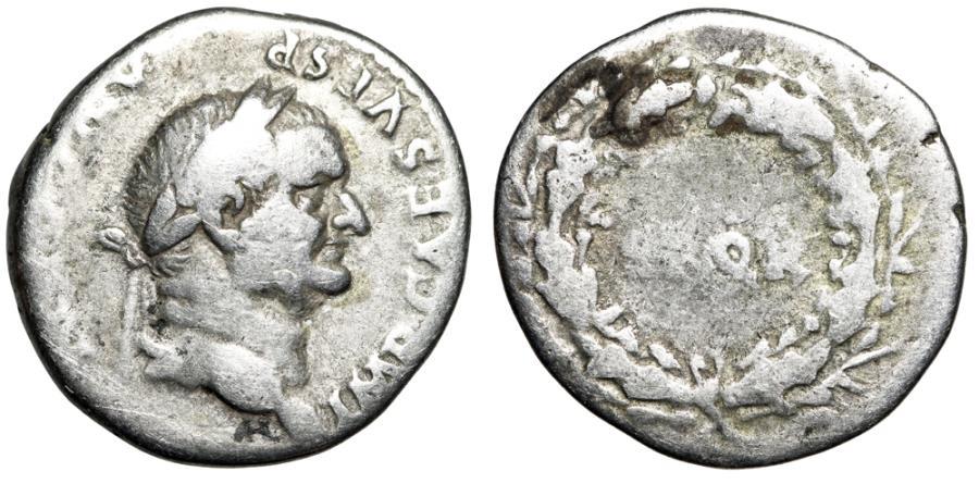 "Ancient Coins - Vespasian AR Denarius 73 AD ""SPQR Within Wreath"" Rome RIC 547 Scarce"