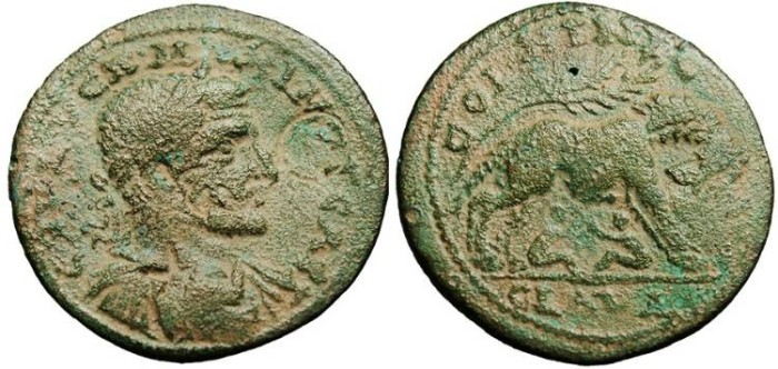 "Ancient Coins - Maximinus I, AE 29 ""She Wolf Suckling Romulus & Remus"" Cilicia, Ninica-Claudiopolis"