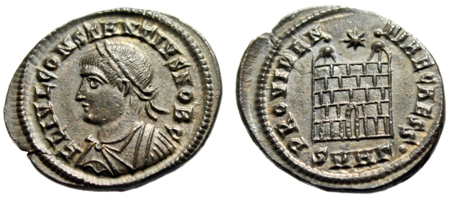 """Ancient Coins - Constantius II """"PROVIDENTIAE CAESS Campgate"""" Heraclea 326 AD RIC 84 Choice EF"""