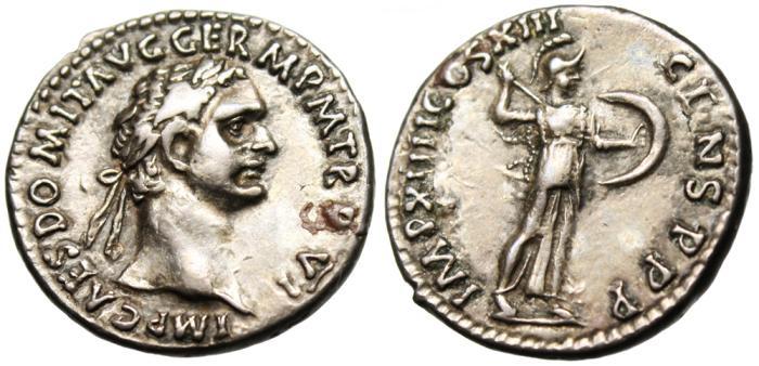 "Ancient Coins - Domitian Silver AR Denarius ""Minerva Brandishing Javelin"" RIC 504 VF"