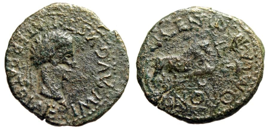 """Ancient Coins - Augustus AE28 """"Bull Standing, Valentius & Novus Duovirs"""" Spain Calagurris Scarce"""
