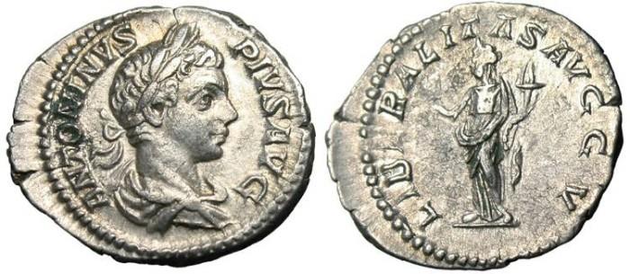 "Ancient Coins - Caracalla, AR Denarius ""Liberalitas"" Rome RIC 136b VF"