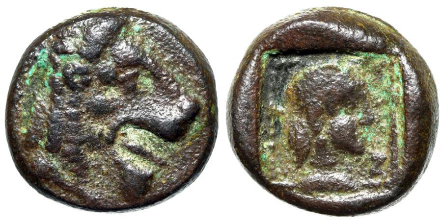 """Ancient Coins - Caria, Knidos (Cnidus) AE 17 """"Lion Head & Archaic Aphrodite in Incuse"""" Very Rare"""