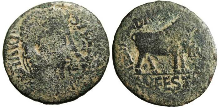 "Ancient Coins - Augustus ""Bull"" Spain, Celsa 3-3BC RPC 278"