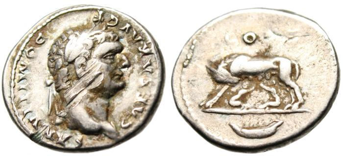 """Ancient Coins - Domitian Silver Denarius """"She Wolf Suckling Romulus & Remus"""" Damnatio Memoriae"""
