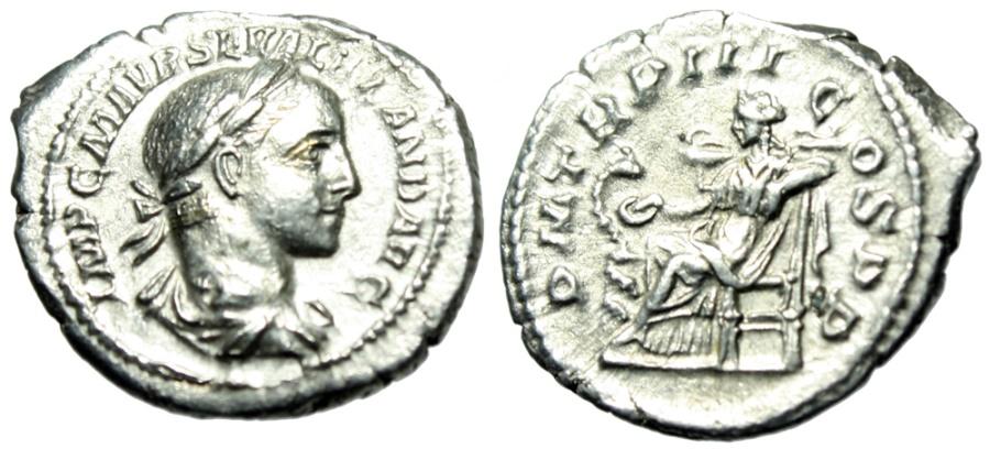 "Ancient Coins - Severus Alexander Silver Denarius ""Salus Seated, Feeding Snake"" RIC 42 Good VF"
