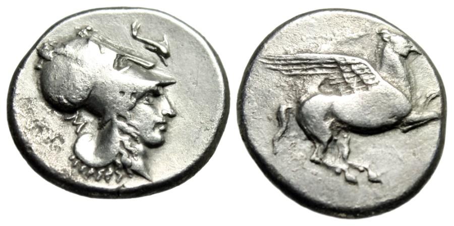 "Ancient Coins - Corinthia, Corinth Silver Stater ""Pegasus Flying & Athena, Dolphin""aVF"