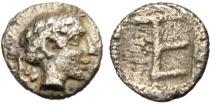 "Ancient Coins - Ionia, Kolophon Silver Tetartemorion ""Apollo & TE Monogram"" VF Scarce"