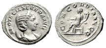 "Ancient Coins - Otacilia Severa (Wife Philip I) Silver Ant ""Concordia Seated"" Rome RIC 125c EF"