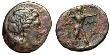 "Ancient Coins - Epirus, Ambrakia (Ambracia) AE22 ""Apollo & Zeus Hurling Thunderbolt"" Scarce VF"