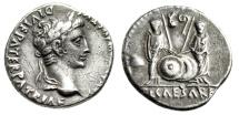 """Ancient Coins - Augustus AR Denarius """"Sons Caius and Lucius Caesars, Shields"""" RIC 208 Good VF"""