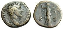 """Ancient Coins - Marcus Aurelius as Caesar AE Sestertius """"Minerva Attacking With Spear"""" RIC 1243"""