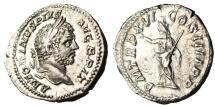 "Ancient Coins - Caracalla Silver Denarius ""Serapis Standing"" Rome 213 AD Good VF RIC 208b"
