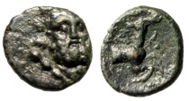 "Ancient Coins - Pisidia, Selge AE12 ""Facing Herakles (Hercules) & Forepart Stag"" Good VF"