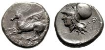 "Akarnania, Leukas AR Stater ""Pegasus Flying & Helmeted Athena, Kerykeion"" gVF"