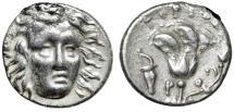 "Ancient Coins - Islands off Caria, Rhodes AR Drachm ""Helios Facing & Rose, Bowcase"" Good VF"