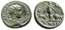 "Ancient Coins - Gordian III AE23 ""Moesia Standing Between Bull & Lion AN II"" Viminacium Good VF"