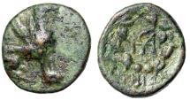 "Ancient Coins - Ionia, Teos AE18 ""Griffin Seated & Monogram in Wreath"" Rare Fine"