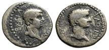 """Ancient Coins - Britannicus & King Polemo II of Pontus AR Drachm """"Busts"""" Dated Year 18 55/56 AD"""