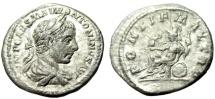 """Ancient Coins - Elagabalus Silver Denarius """"PONTIF MAX TR P Roma Seated"""" Rome RIC 8 aVF"""