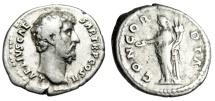 """Ancient Coins - Lucius Aelius Caesar Silver Denarius """"Concordia Standing"""" RIC 428 Scarce nVF"""