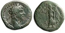 """Marcus Aurelius AE Sestertius """"Victory, Wreath & Palm"""" 166-168 AD RIC 952 gF"""