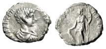 "Ancient Coins - Caracalla Silver Denarius ""SECVRITAS PERPETVA Minerva, Shield"" Rome RIC 330"