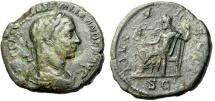 "Ancient Coins - Severus Alexander AE Sestertius ""IOVI VLTORI Jupiter Seated"" Rome RIC 560 aVF"