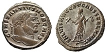"Ancient Coins - Constantius I Chlorus AE Follis ""Carthage Holding Fruits"" RIC 32a Nice Portrait"