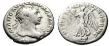 "Ancient Coins - Trajan Budget Silver Denarius ""Victory Atop Oblong Shield"" Rome RIC 129"