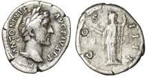 """Ancient Coins - Antoninus Pius AR Denarius """"Aequitas With Scales"""" Rome 145-161 AD RIC 127"""