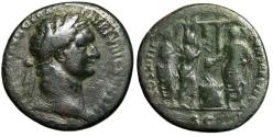 """Ancient Coins - Domitian AE As """"Emperor, Altar, Flute & Lyre Players, Temple"""" 88 AD RIC 623"""