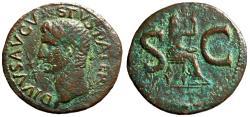 "Ancient Coins - Augustus Posthumous AE As ""Radiate Portrait, Thunderbolt & Livia Seated"" Rare"