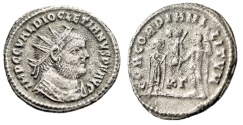 "Ancient Coins - Diocletian AR Radiate ""CONCORDIA MILITVM"" Heraclea Unusually High Silver Content"