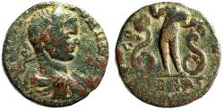 "Ancient Coins - Elagabalus AE25 ""Eshmun Standing Between Two Serpents"" Phoenicia Berytos Rare"