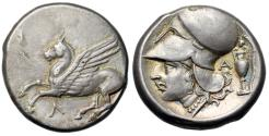 """Ancient Coins - Akarnania, Leukas AR Stater """"Pegasus Flying & Athena, Kantharos, Grapes"""" Good VF"""