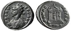 "Ancient Coins - Probus AE Antoninianus ""ROMAE AETER Consular Bust & Hexastyle Temple"" Rome gVF"