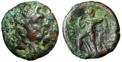 "Ancient Coins - Thessaly, The Ainianes AE Dichalkon ""Zeus & Slinger, Weapons"" Fine"