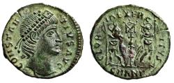 "Ancient Coins - Constantius II AE16 ""GLORIA EXERCITVS Soldiers, X Banner"" Antioch RIC 52 EF"