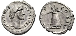 "Ancient Coins - Antoninus Pius AR Denarius ""Modius, Grain & Poppy"" Rome RIC 58 Choice Good EF"